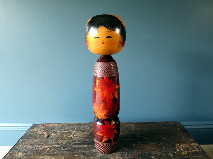 Kokeshi doll - stunning rose wood maple leaf design by Sato Kouson - XL (44cm)