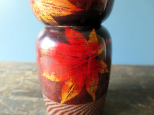 Kokeshi doll - red rose wood leaf design - very large