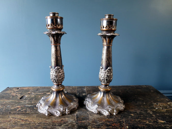 Pair of heavy Victorian EPNS candlesticks with great wear