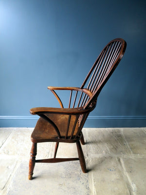 Hooped stick back Windsor Georgian chair 19th century