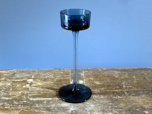 Wedgwood candle holder Brancaster design in blue glass - tall