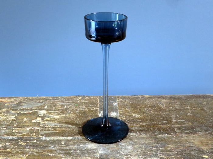 Wedgwood candle holder Brancaster design in blue glass - 21cm tall