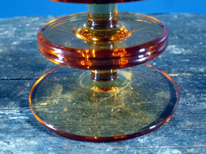 Wedgwood candle holder Sheringham design - 2 hoops in amber colour glass