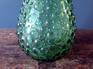 Rossini genie bottle decanter in Empoli glass with green hobnail pattern