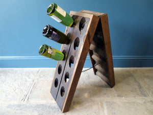 1800s French wooden wine bottle holder riddling rack