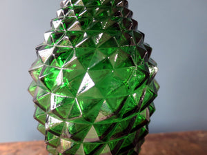 Rossini vase shaped genie bottle decanter in Empoli glass with green diamond point pattern