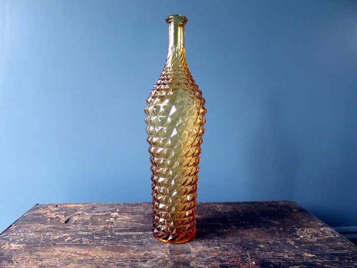 Rossini vase shaped genie bottle decanter in Empoli glass with amber diamond point pattern