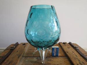 Vintage blue-green dimpled glass vase