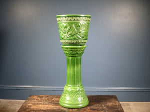 West German Pottery Art-nouveau jardiniere plant stand & planter 673-22 449-40