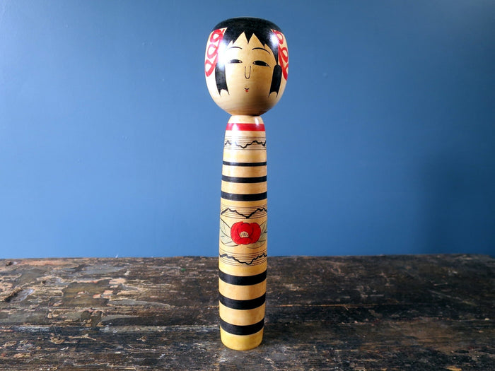 Kokeshi doll - Tsuchiyu with squeak, striped body - medium (25cm)