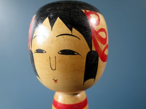 Japanese Kokeshi doll - Tsuchiyu style with striped body