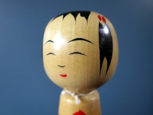 Japanese wooden Kokeshi doll - Yamagata style with chrysanthemum design