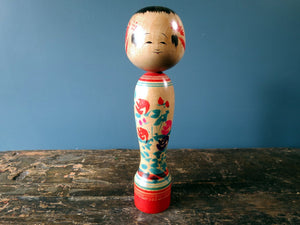 Japanese wooden Kokeshi doll - Zao style with floral design