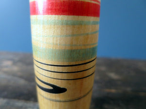 Kokeshi doll - Tsuchiyu style with striped body and squeak