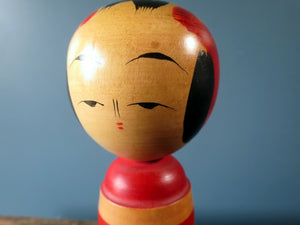 Japanese wooden Kokeshi doll - Sakunami style with chrysanthemum design