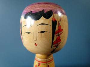 Japanese wooden Kokeshi doll - Yajiro design with detailed blossom design