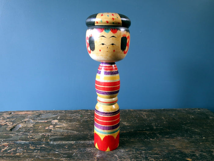 Kokeshi doll - Yajiro with colourful striped design and hat - medium (26cm)