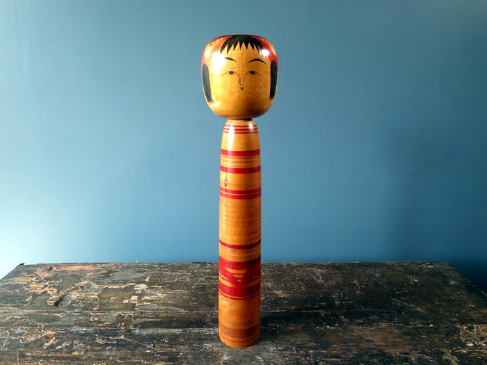 Kokeshi doll - Tsuchiyu with bobble head/squeak and striped body - large (31cm)