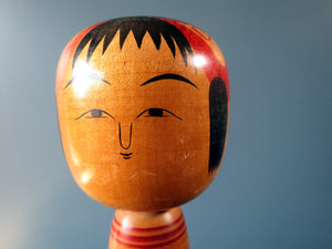 Vintage Japanese Kokeshi doll - Tsuchiyu style with bobble head/squeak