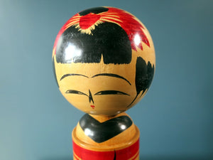 Vintage Japanese Kokeshi doll - Sakunami style with chrysanthemum design