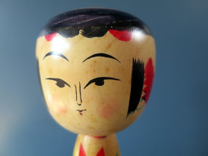 Japanese wooden Kokeshi doll - Yajiro design with chrysanthemum motif