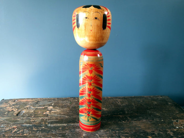 Kokeshi doll - Hijiori with chrysanthemum design - large (32cm)