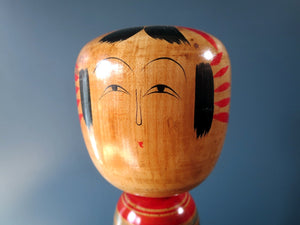 Japanese wooden Kokeshi doll - Hijori style with chrysanthemum design