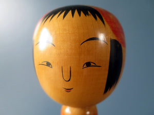Japanese vintage Kokeshi doll in Tsuchiyu style with tapered striped body