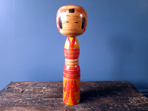 Japanese wooden Kokeshi doll - colourful Yajiro design with rattle