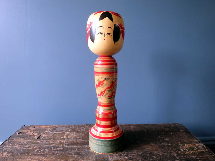 Kokeshi doll - Sakunami style with stripes and chrysanthemum design - XL (41cm)