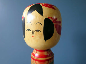 Japanese wooden Kokeshi doll - Sakunami style with stripes and chrysanthemum design