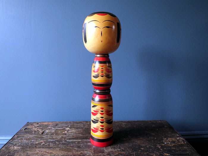 Kokeshi doll - clean colourful Yajiro - XL (46cm)
