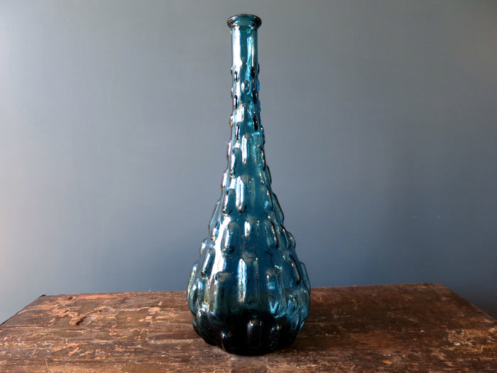 Rossini flask shaped genie bottle decanter in Empoli glass with blue brick pattern