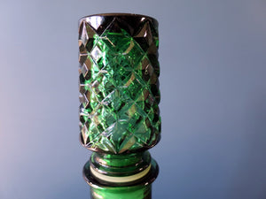Rossini genie bottle decanter in Empoli glass with stopper in green harlequin pattern