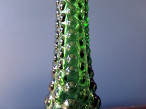 Rossini genie bottle decanter in Empoli glass with green bubble pattern