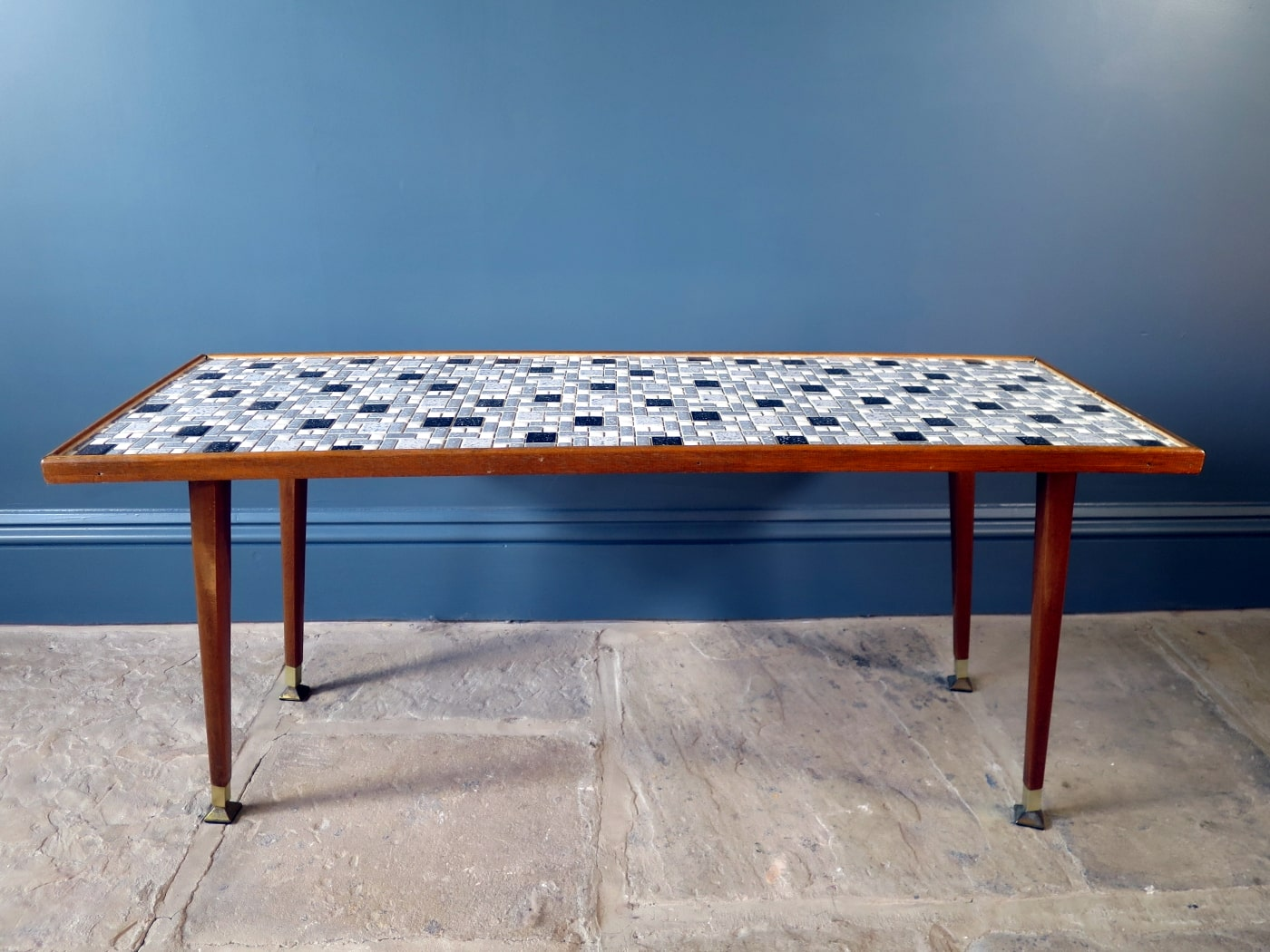 - 1950s Mid-Century Coffee Table With Mosaic Tiled Top – Swag And Tales