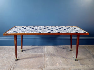 1950s Mid-Century coffee table with mosaic tiled top