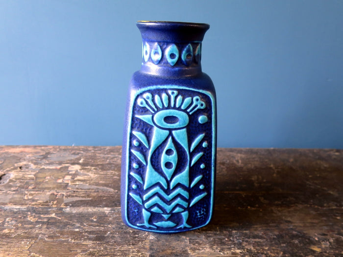 Fantastic vintage Aztec bird vase design by Bodo Mans 96-20 (blue)