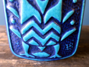 Vintage Aztec bird blue vase design by Bodo Mans 96-20