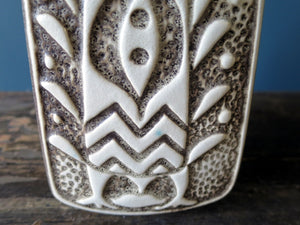 Vintage Aztec bird grey vase design by Bodo Mans 96-20