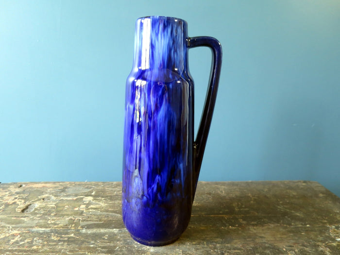 Dark blue West German drip glaze vase with handle 275-28