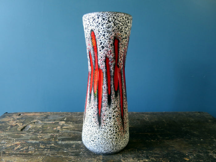 Scheurich Keramik 1970s West German Vase with Lora pattern glaze 206-27