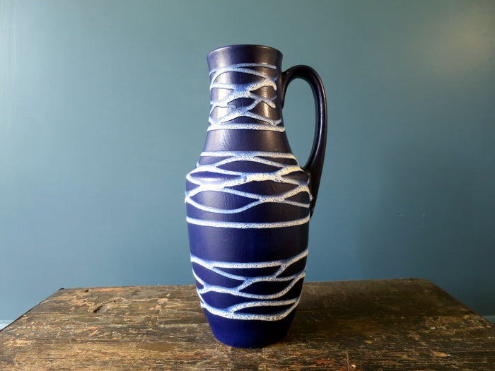 Substantial floor standing Scheurich Keramik West German blue vase 407-35