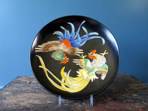Karlsruhe Majolica black fighting cocks dish wall plaque