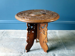 Indian carved wooden circular occasional table