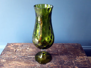 Vintage green dimpled heavy glass vase