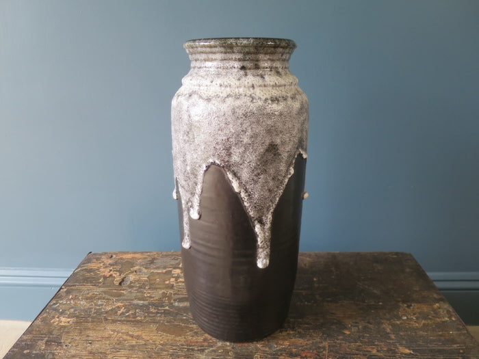 Superb dark Bay Keramik floor-standing vase with thick volcanic glaze 630-40