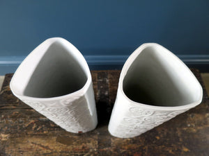 Pair of white vintage porcelain triangular vases by Alboth & Kaiser