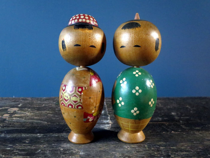 "Kokeshi doll - cute pair of Donko style ""Mr and Mrs"" - small (15cm)"