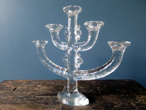 Vintage Swedish glass candlestick holder by Steffan Gellerstadt for Pukeberg